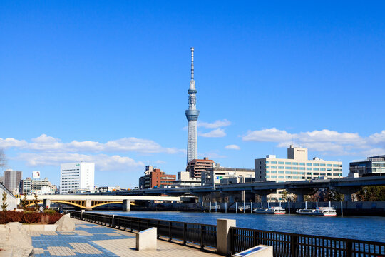 Taito, Tokyo, Japan-Tokyo Skytree through Sumida River