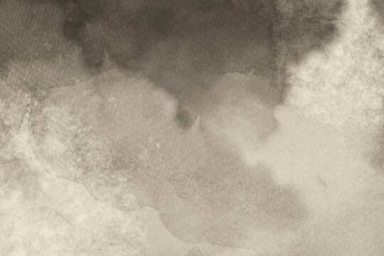 brown watercolor background texture, abstract cloudy white and sepia color splash and blotches on paper texture in abstract pattern