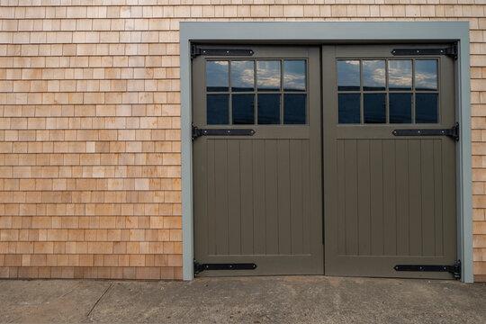exterior glass and wood of Garage door and walkway