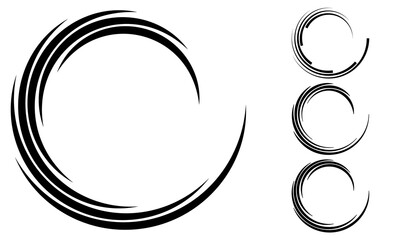 Fototapeta abstract swirl background. halftone stripes pattern in circle form. obraz