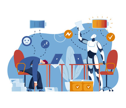 Ai machine technology, business robot vector illustration. Human charge off, future artificial intelligence have full battery concept. Computer science cyborg flat energy for modern work.