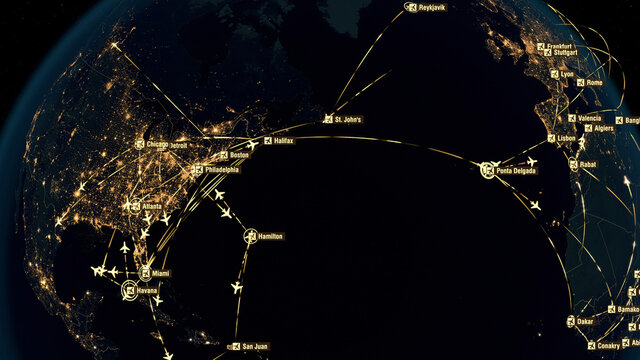 Flight Paths Over North America. North American Air Routes. Flight Connections. Global Communications - Destinations all over the World. Airport International Connectivity. City Lights. 3D Rendering.
