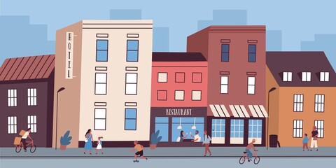 Colorful cityscape with restaurant and hotel buildings. People walking on town street. Downtown urban area with commercial and residential architecture. Vector illustration in flat cartoon style