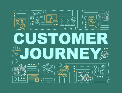 Customer journey word concepts banner. Touchpoint mapping. Infographics with linear icons on blue background. Client experience. Isolated typography. Vector outline RGB color illustration