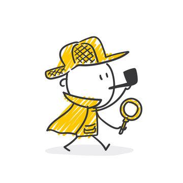 Strichfiguren / Strichmännchen: Detektiv, Lupe, Sherlock Holmes. (Nr. 541)