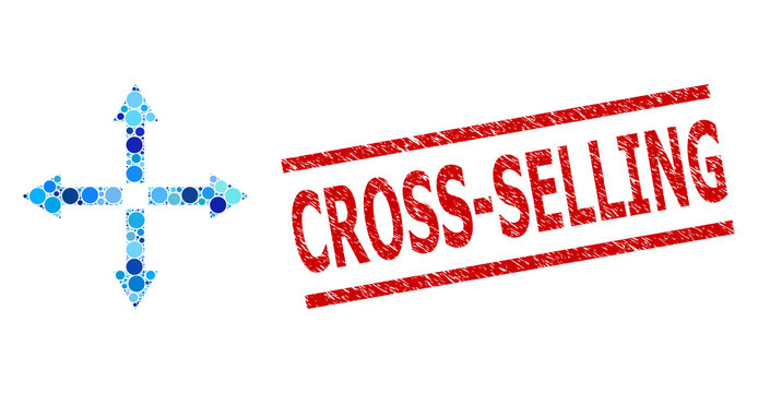 Round dot mosaic expand arrows and CROSS-SELLING grunge stamp imitation. Stamp includes CROSS-SELLING title between parallel lines. Vector mosaic is based on expand arrows symbol,