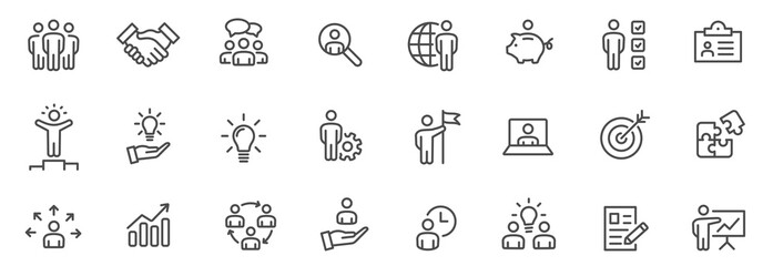 Obraz Business people line icons set. Team work. Outline icons collection - stock vector. - fototapety do salonu