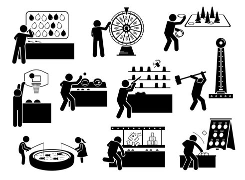 Carnival games and theme park activities stick figures icons. Vector illustrations of people playing funfair games at booth.