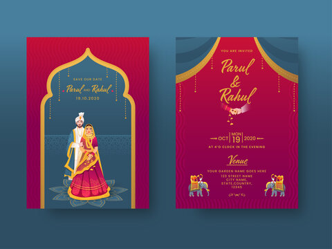 Indian Wedding Invitation Card Design with Couple Character and Venue Details in Front and Back View.