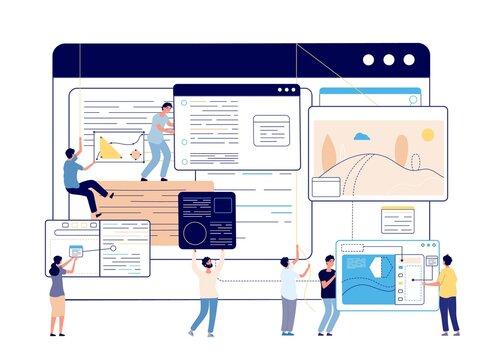 Web content management. Digital blog, social media designers and writer. Blogging, modern education or programming team vector illustration. Analysis optimization website, personalization technical