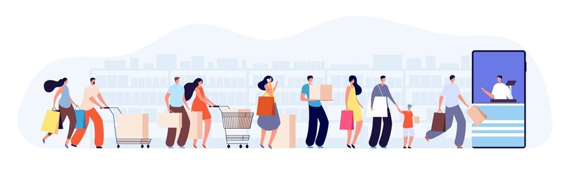 Customers people queue. Client characters, online shop seller or cashier. Waiting line in grocery store, supermarket vector illustration. Shopping buyer waiting, market consumer and shopper