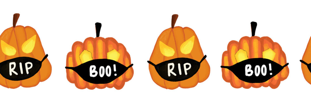 Corona Halloween Pumpkin Seamless Border. Pumpkins wearing face masks repeating pattern. Covid-19 virus background. For Halloween 2020 decoration, invitations, greeting cards, face mask