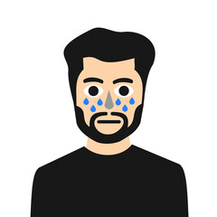 Bearded sensitive man is crying. Drops and tears under his eyes. Emotional sad portrait and face of unhappy and miserable male person. Vector illustration isolated on white.
