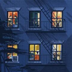 City evening peeking over the windows.