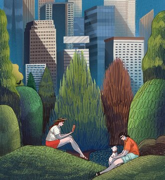 Illustration of couple sitting in Central Park in New York City