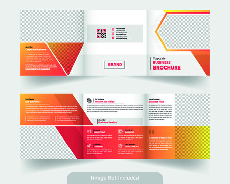 corporate square tri fold brochure template. abstract and colorful theme