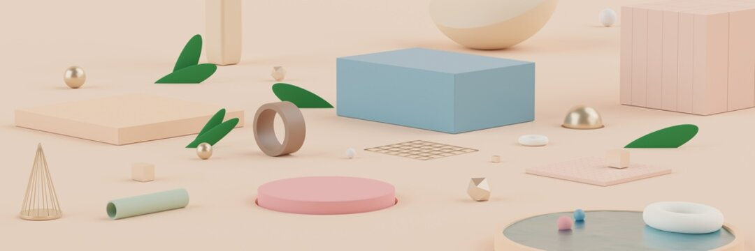 3d Abstract background of empty podium display for products and cosmetic presentation and mock up. Pastel cream colors pedestal or showcase with minimal geometry shapes. Colorful scene.