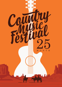 Poster for a country music festival with a guitar and inscription on the background of western landscape. Vector flyer, banner, invitation on the theme of the Wild West with American prairies