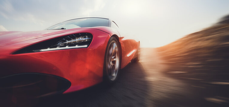 Fast sports car on road in motion blur.