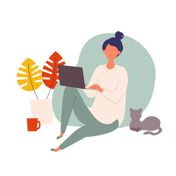 Vector illustration of woman checking the web in the autumn. Woman have a relaxing day off.