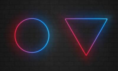 Neon frames. Vector line light bulbs, triangle and circle neon frame borders