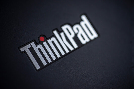 Close up of lenovo thinkpad logo Macro shot