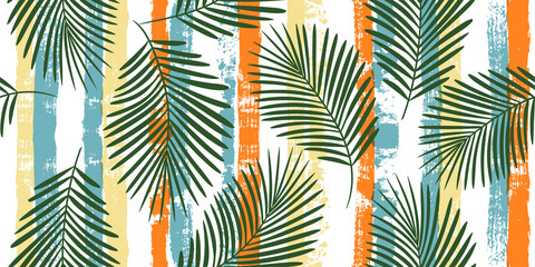 Tropical pattern, palm leaves seamless vector floral background. Exotic plant on colorful stripes print illustration. Summer nature jungle print. Leaves of palm tree on paint lines. ink brush strokes Wall mural