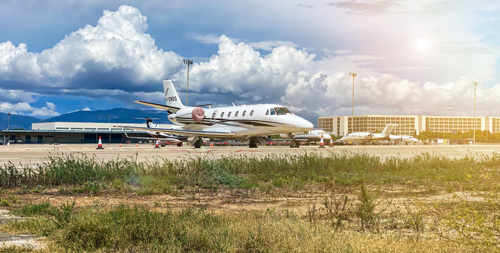 private jet at the airport of Palma de Mallorca, Spain