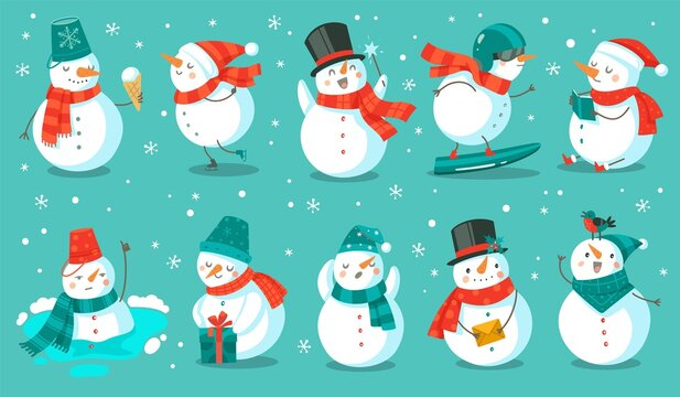 Snowman. Cheerful christmas snowmen in different costume with ice cream, book and gift, letter and snowboard winter outdoor festive happy xmas holiday characters, flat vector cartoon set