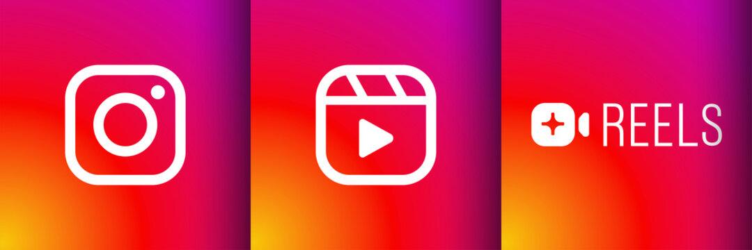 Rivne, Ukraine, 8 of September 2020, Instagram reels icon vector flat logo. New internet social network media app in mobile phone on pink backgorund.