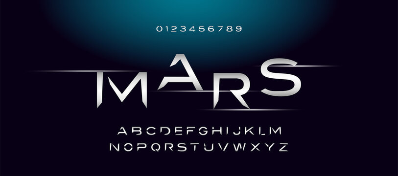 Modern space style typeface, techno effect logo designs. Typography digital space concept. Alphabet letters and numbers vector illustration.