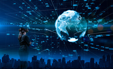 Duble exposure image of business people using a modern VR goggles or vr glasses overlay with global connecting big data. the concept of business communication. Papier Peint
