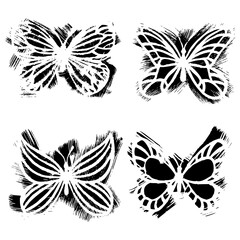 Grunge art butterflies, vector set. Butterfly print of brush strokes.