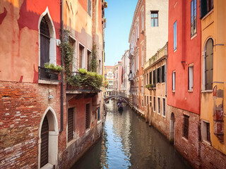Printed roller blinds Gondolas Canal with gondolas in Venice, Italy