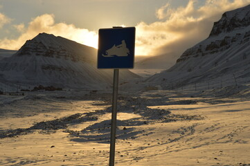 Sunset over Svalbard (Spitsbergen) North of the Arctic Circle