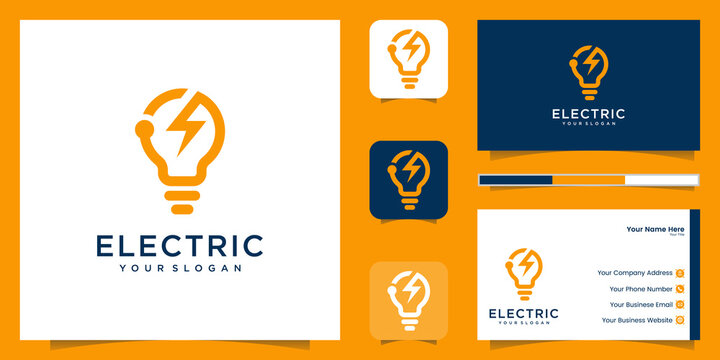 Light Bulb Energy Electrical Power Logo and business card