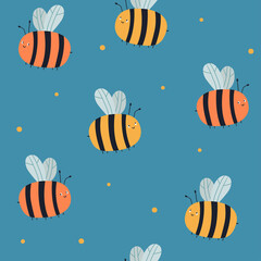 Seamless vector pattern with bees on a blue background. Summer pattern. For wallpaper, textiles, fabric, paper. Repeated background for kids fabric.