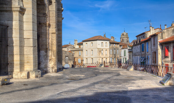 View past the Roman amphitheatre of Arles, France