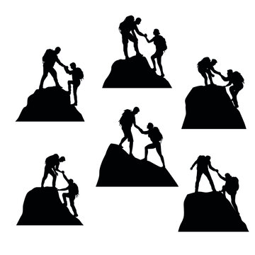 Silhouettes Set Of Climbers Helping Each Other