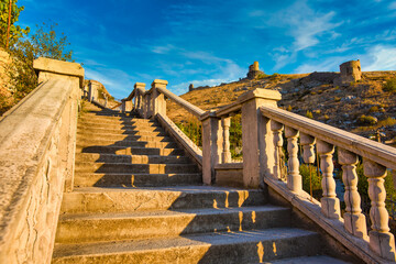 Balaklava,Russian Federation/ September 7, 2020: The old stone  stairs up the mountain