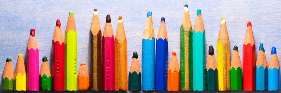 very small coloring pencils due to their use , concept  better use of natural resources so they don't disappear