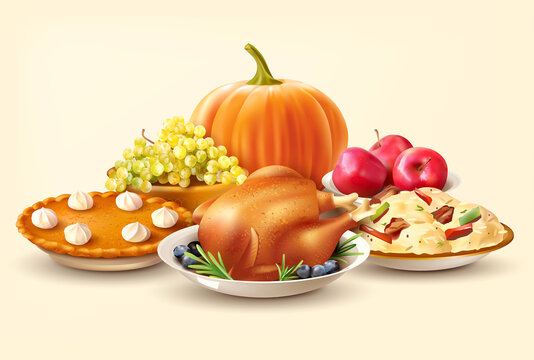 Thanksgiving Day background with pumpkin and traditional dishes. Vector illustration.