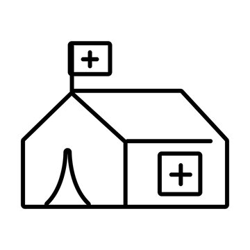 medical tent icon, line style