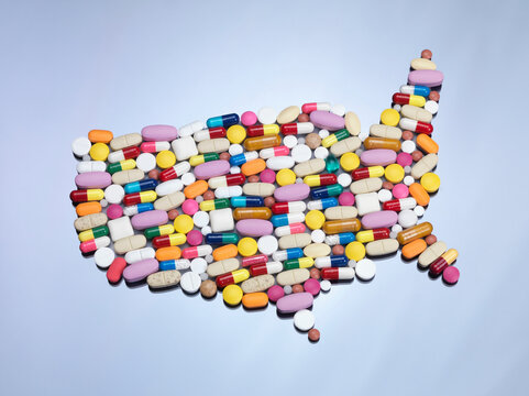 Pills in United States map shape