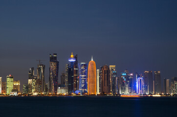 Skyscrapers of downtown Doha at night, Qatar