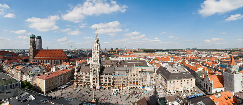 View of Marienplatz from St Peters, Munich, Germany