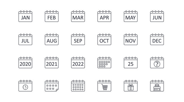 Vector calendar icons. Editable stroke. Icon with months of the year, 2020 2021 2022. Question sign 25 clock timetable schedule. Shopping time, cart gift birthday cake