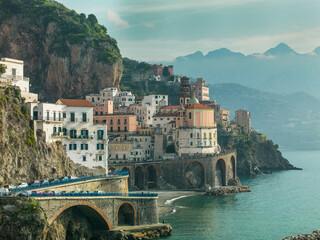 The village of Atrani, on the Amalfi Coast, Campania, Italy