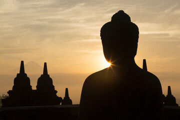 Silhouetted rooftops, The Buddhist Temple of Borobudur, Java, Indonesia