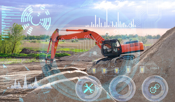 the concept of managing construction equipment and an excavator without human intervention using future technologies and artificial technology, eliminating errors and reducing the cost of work